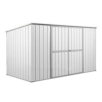 Enaudi - Caseta de jardín de chapa blanca para herramientas, 345 x 186 x 192 cm: Amazon.es: Jardín
