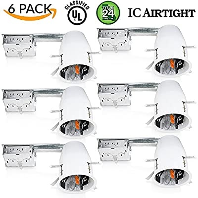 "Sunco Lighting 6 Pack of 4"" inch Remodel LED Can Air Tight IC Housing LED Recessed Lighting- UL Listed and Title 24 Certified"