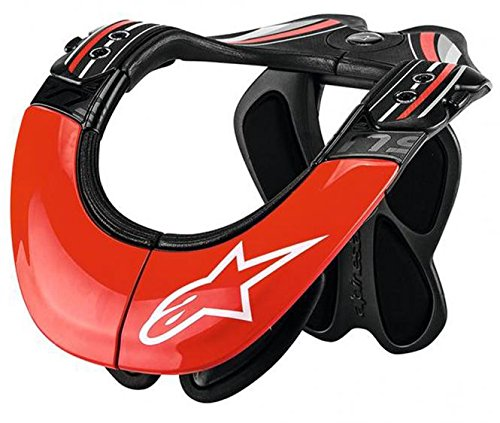 Alpinestars BNS Tech Carbon Adult Neck Brace Motocross Motorcycle Body Armor - Red/White/Large/X-Large