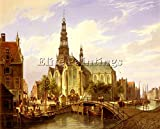 DOMMERSEN CORNELIS CHRISTIAN CAPRICCIO VIEW AMSTERDAM ARTIST PAINTING OIL CANVAS 20x24inch