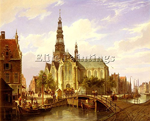 DOMMERSEN CORNELIS CHRISTIAN CAPRICCIO VIEW AMSTERDAM ARTIST PAINTING OIL CANVAS 20x24inch by Elite-Paintings