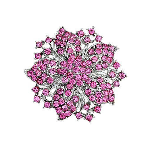 Ezing Fashion Jewelry Beautiful Silver Plated Rhinestone Crystal Brooch Pin For Woman (pink)