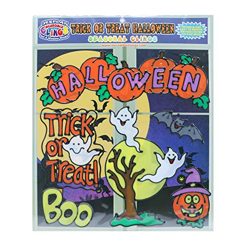 Trick or Treat Halloween Gel Clings - Gel Glass Window Clings for Kids and Toddlers - Incredible Gel Decals of Full Moon, Ghosts, Pumpkins, Boo, Bats Home, Airplane, Classroom, Nursery Decoration -