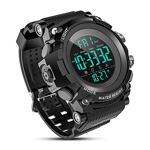 Stopwatch Dual Countdown Time Timer - Men's Digital Sport Watch, Military Watches with 50M Waterproof Stopwatch Army Alarm Chime Hourly Count Down Calendar Date Dual Time and Simple Luminous 12/24 for Men—Black
