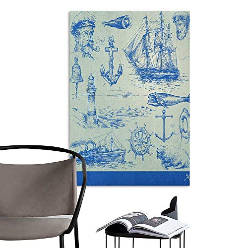 Home Decor Decals Mural Nautical Anchor Whale Sail Boat Steering Wheel and Old Lighthouse Fishing Theme Sketchy Blue Eggshell School Dormitory Classroom W16 x -
