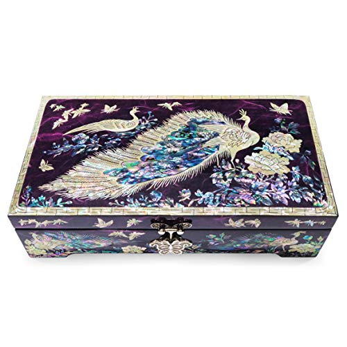 Hand Made Jewelry Box Mother of Pearl Sea Shell Inlaid Removable Ring Organizer Tray Mirror Lid Peacocks Design Purple