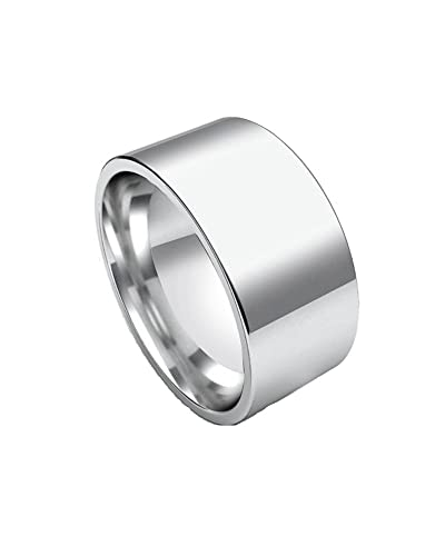 Polished 10mm Wide Flat Plain Stainless Steel Unisex Men Wedding