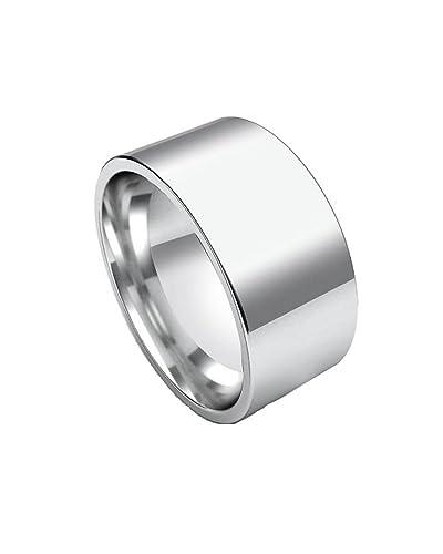 Polished 10mm Wide Flat Plain Stainless Steel Unisex Men Wedding Band Ring Size 7