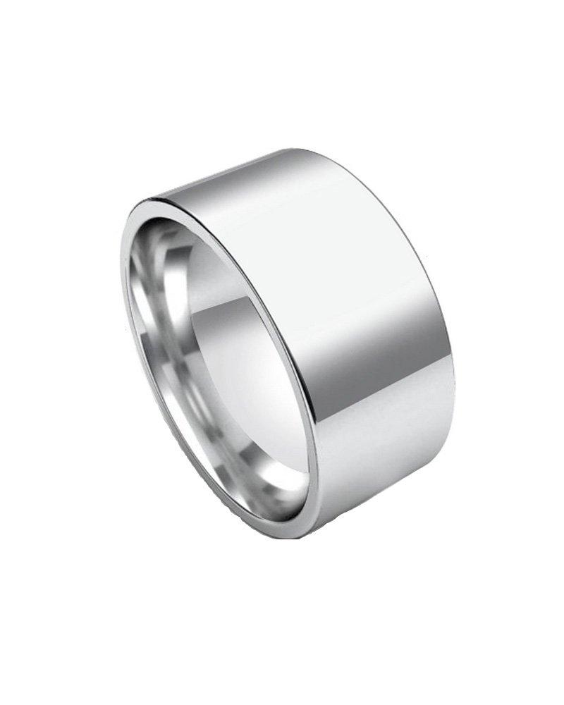 Polished 10mm Wide Flat Plain Stainless Steel Unisex Men Wedding Band Ring Size 10