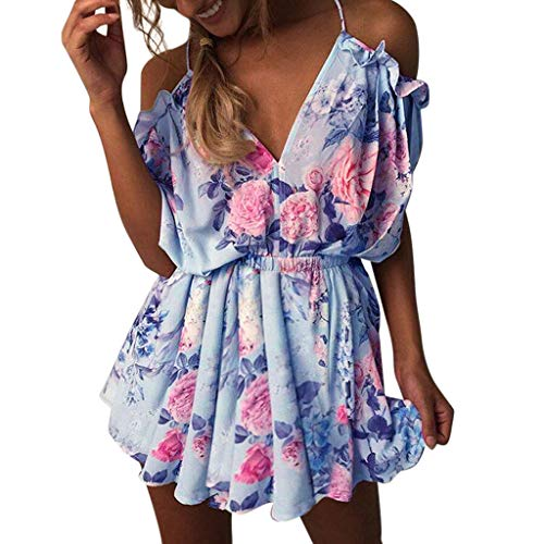 - Jumpsuits for Women Sexy Floral Print Summer Holiday Rompers Mini Playsuit Ladies Jumpsuits Beach Shorts Loungewear Sky Blue