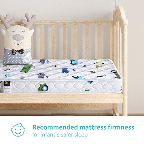 51XYJ 0cDCL - 【2020 Kids' Favorites】 Bubble Bear Foam Crib Mattress And Toddler Mattress -Comfortable And Breathable & Solid Safety Edge & Size:52X27.6X5(Cute Car)