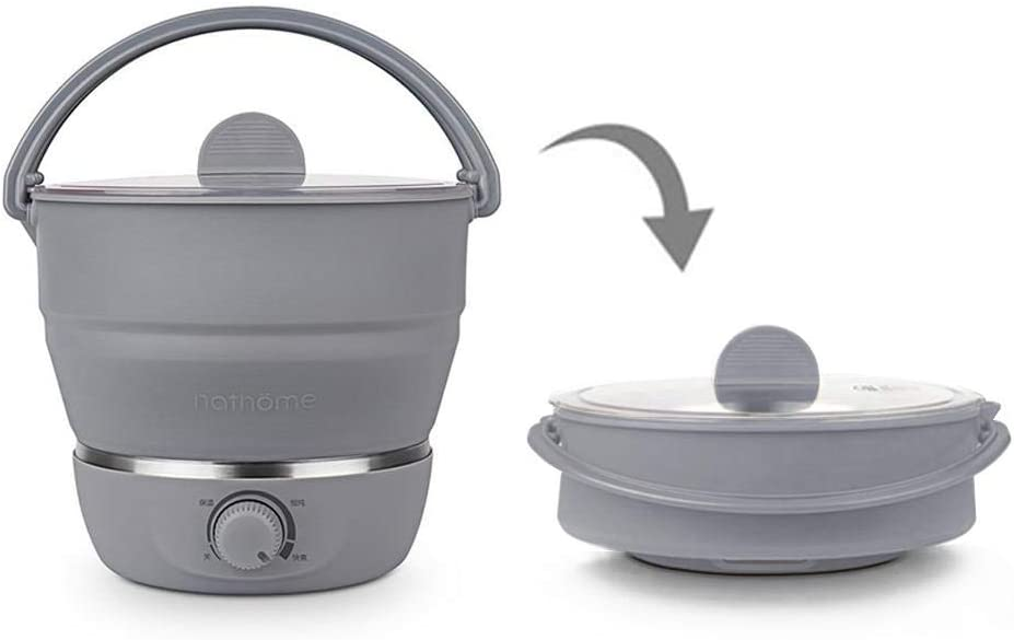 Foldable Electric Hot Pot Cooker, Mini Kettle Food Grade Silicone Cookerware Boiling Water Steamer Portable Travel Global Use
