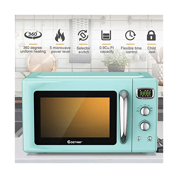 COSTWAY Retro Countertop Microwave Oven, 0.9Cu.ft, 900W Microwave Oven, with 5 Micro Power, Defrost & Auto Cooking… 2