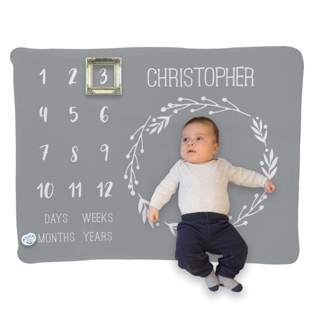 Baby & Infant Blanket   Month Milestones Blanket   Gray