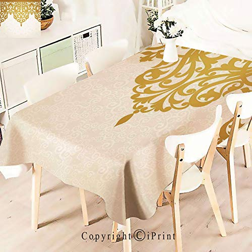 Premium Polyester Printed Tablecloth,Style Medieval Motifs with Classic Baroque, Idle for Grand Events and Regular Home Use, Machine Washable,W55 xL55,Golden Cream