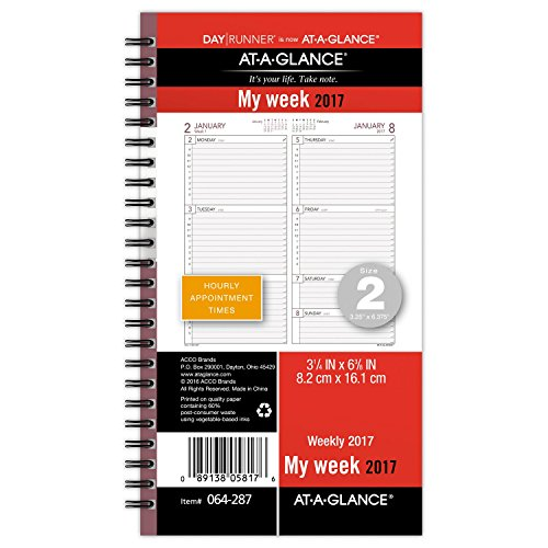 Day Runner Weekly Planner Refill 2017, Wirebound, 3-1/4 x 6-3/8