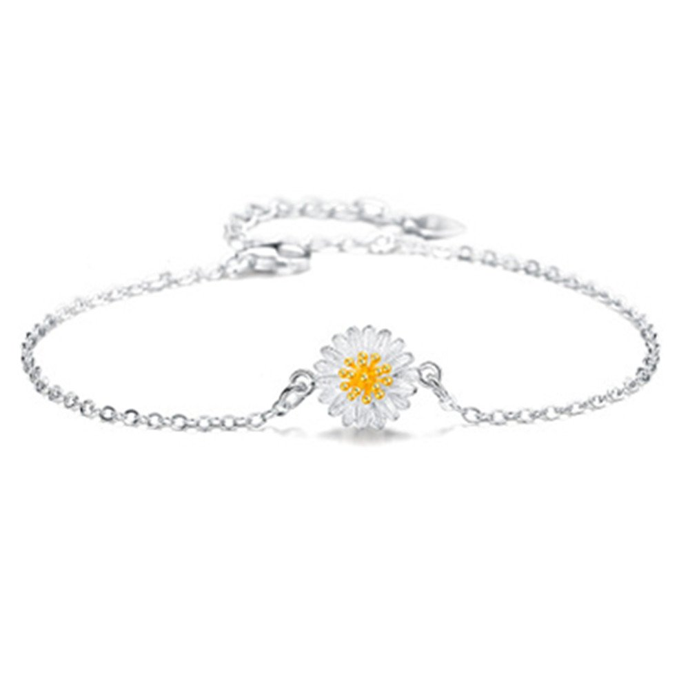 S925 Silver Plated Gold Daisy Sunflower Women Adjustable Ankle Bracelet,9.8'' lobster clasp