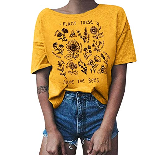 Shusuen Plant These Save The Bees Shirt Flowers T Shirt Tee Tops Yellow