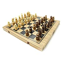 Handmade 3in1 Wooden Chess, Backgammon Checker Set, Large - Wooden Puzzles for Adults