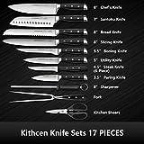 Acoqoos Kitchen Knife Set, 17-Piece Knife Block Set