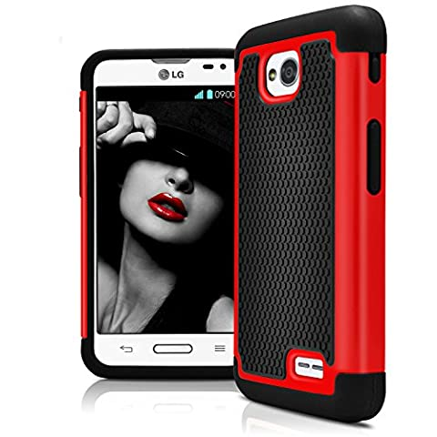 LG L70 Case, LG Optimus Exceed 2 Case, MagicMobile [Dual Armor Series] Hybrid Impact Resistant LG L70 Shockproof Tough Case Hard Plastic + Silicone Protective Cover for LG Optimus Realm (Lg L70 Optimus Black Cases)