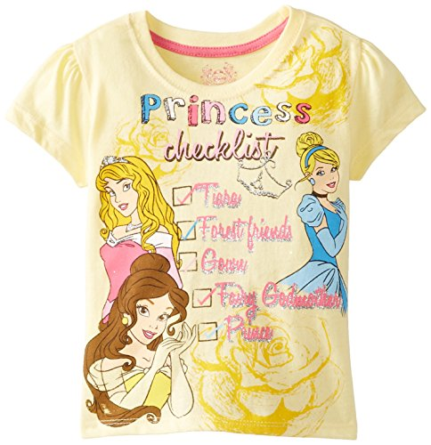 Price comparison product image Disney Little Girls' Princess Checklist Short Sleeve T-Shirt, Lemon Juice, 2T