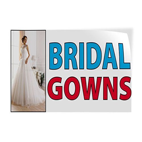 Bridal Gowns Indoor Store Sign Vinyl Decal Sticker - 14.5inx36in, (Destination Gown)