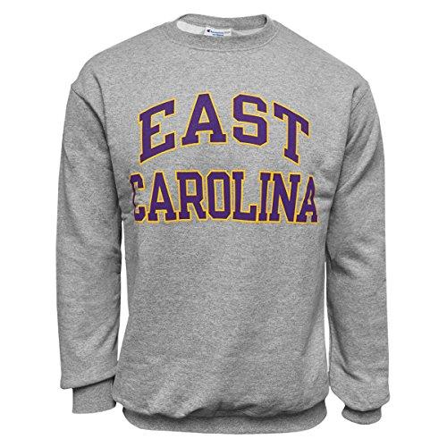 East Carolina Grey Powerblend Crew Neck Swestshirt Purple and Gold Graphic ECU (Large) ()