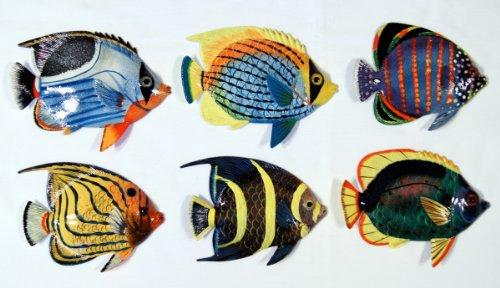 Tropical Fish Wall Plaque (Handpainted L-A Tropical Fish Replica Wall Mount Decor Plaque 6