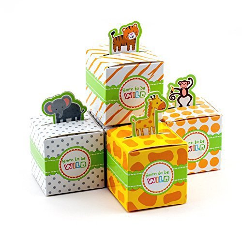Adorox Small 24 Pcs Born to Be Wild Adorable Jungle Safari Zoo Theme Baby Shower Favor Candy Treat Box Cute Birthday Decoration (Assorted) -