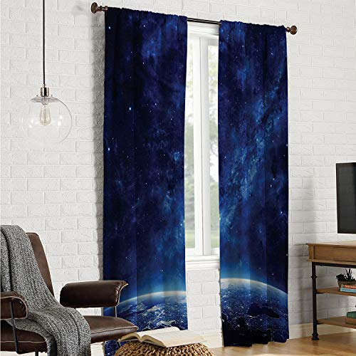 Mozenou Fit Window Curtain Assorted Colors Curtains Space,Earth at Night from Deep Atmosphere Vibrant Milky Way Starfield Ecliptic Scene Print,Dark Blue W96 x L108 Inch (The Amazing Spider Man 2 Final Scene)