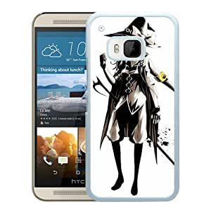 Popular And Unique Designed Cover Case For HTC ONE M9 With Girl Black And White Hat Braid Dressing white Phone Case