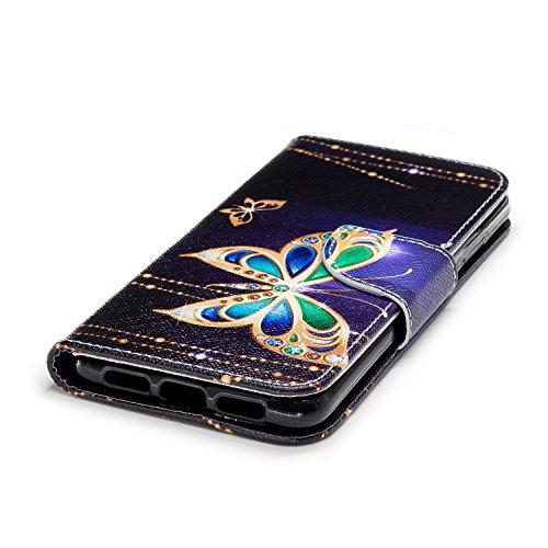 Funda para Huawei P20 , IJIA Mariposa TPU + PU Ranuras para Tarjetas de Crédito Flip Folio Caja [Estilo Libro,Soporte Plegable ] Cover Tapa Caso Parachoques Carcasa Cubierta para Huawei P20 (5.8) (BF