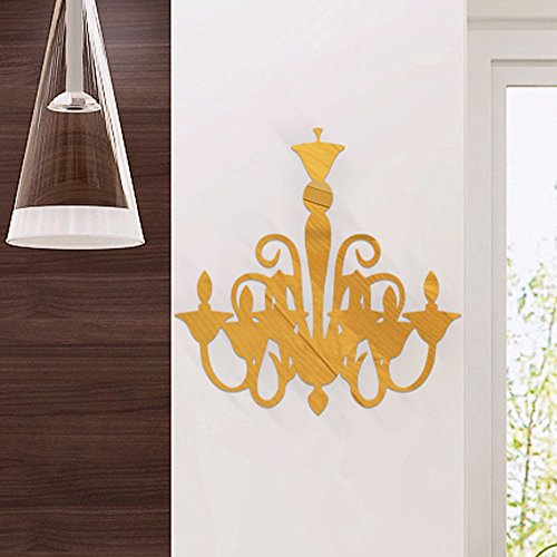 WOCACHI Wall Stickers Decals Lamp Shape 3D DIY Flower Specchio Acrylic Wall Sticker Modern Stickers Art Mural Wallpaper Peel & Stick Removable Room Decoration Nursery Decor