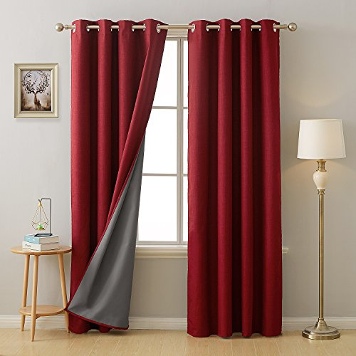 Deconovo 100 Percent Blackout Curtains with 3 Pass Energy Efficient Thermal Insulated Coating Faux Linen Room Darkening Grommet Curtains for Living Room 52 x 95 Inch Long Set of 2 Curtain Panels Red (Room Red Living Set)
