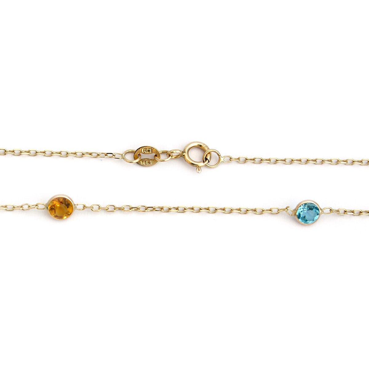14k Yellow Gold Bezel Set Natural Gemstones Station Necklace, 16'' by Beauniq (Image #2)