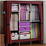 HHAiNi Portable Simple Double Armoire Wardrobe Large Reinforced Closet for Bedroom, Free 2 Storage Boxes