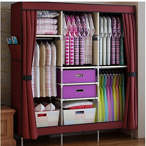 HHAiNi Portable Simple Double Armoire Wardrobe Large Reinforced Closet for Bedroom, Free 2 Storage Boxes by HHAiNi