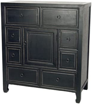 Wayborn Home Furnishing Suchow Apothecary Chest with Drawers Door, Black