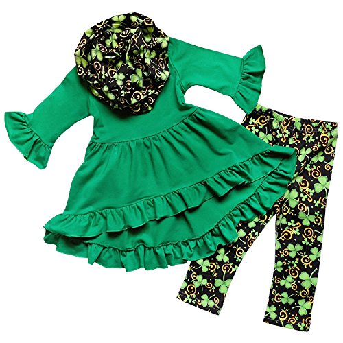 So Sydney Toddler Girls 3 Pc St. Patrick's Day Shamrock Scarf Holiday Outfit (M (4T), Ruffle Top Black & (Leprechaun Outfits)