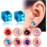 2-8 Pairs Unisex Square CZ Inlaid Magnetic Earrings Non-Piercing Clip On Stud Earrings 8 Mixed Color (8Pair - 8Color)
