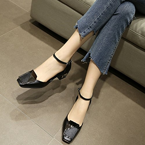 Woman Spring Sandals Leather Women's Wild Baotou Summer Black Shallow Shoes ZCJB Mouth waXqEXA