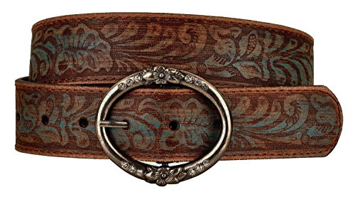 Distress Embossed Brown and Teal Leather Belt with Rhinestone Ring Buckle (L)