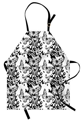 Ambesonne Black and White Apron, Starry Night Drifter Butterfly Silhouettes Monochrome Sketch Style Fauna, Unisex Kitchen Bib Apron with Adjustable Neck for Cooking Baking Gardening, Black White