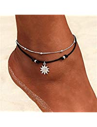 Jstyle 12Pcs Blue Starfish Turtle Charm Ankle Bracelets Multilayer Gold Silver Plated Anklet Bracelet Foot Jewelry Handmade