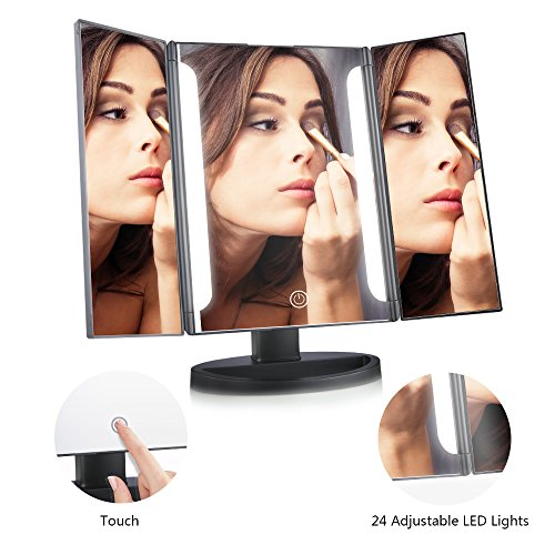 EASEHOLD-Lighted-Vanity-Makeup-Mirror-Tri-Fold-LED-Light-Bars-180-Degree-Free-Rotation-Table-Countertop-Cosmetic-Bathroom-Mirror