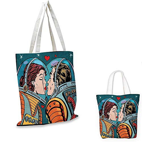 Love canvas messenger bag Space Man and Woman Valentines Kissing Science Cosmos Couple Pop Art Design Print canvas beach bag Multicolor. 12