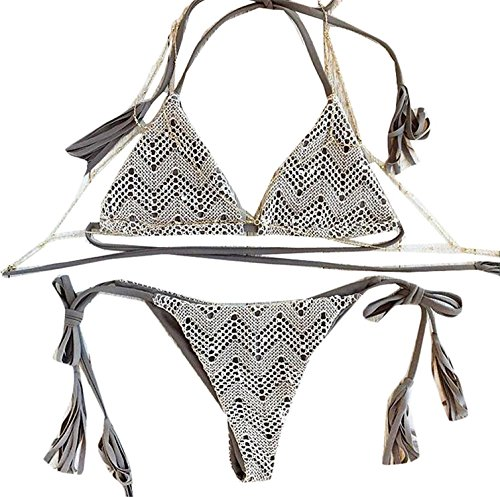 David Salc Women's Fashion Lace Splicing Halter Bikini Set 1 S