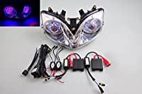 Wotefusi Motorcycle New Headlight Head Light Lamp Cool Blue Angel Red Devil Eyes Rings Projector Bi-Xenon Ballasts Assembly Kit For Honda CBR600 F4i 2001 2002 2003 2004 2005 2006 2007