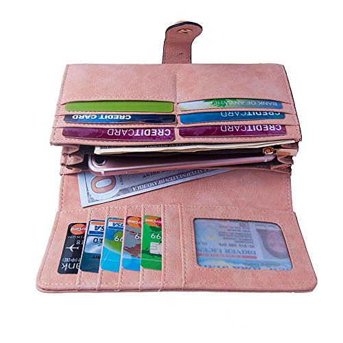 Talendi Women's Vegan Leather Credit Card Holder Wallet Large Capacity Long Bifold Checkbook Wallet (Light Pink)